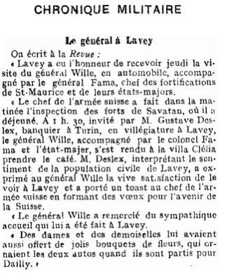 14 Visite du Général Wille à Lavey (1915)