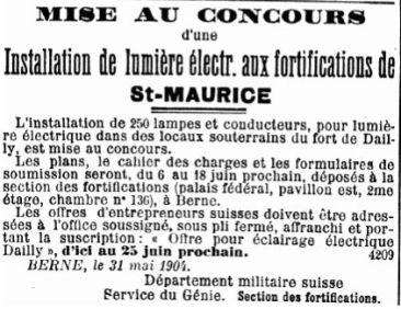 8 Mise au concours pour les forts de St-Maurice (1904)